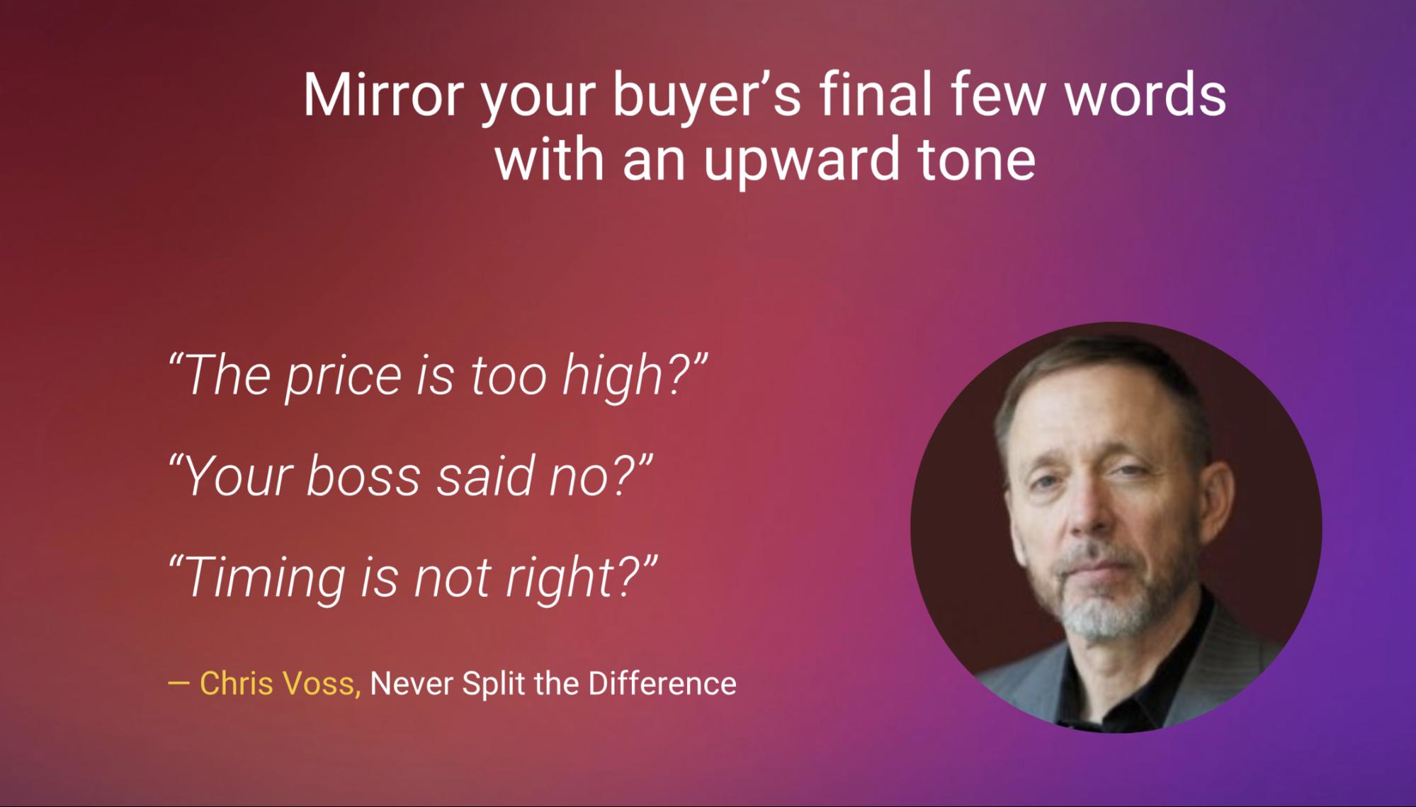 Mirroring sales technique