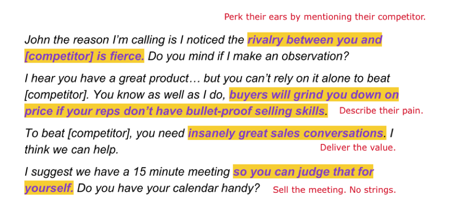Cold call script sales tip