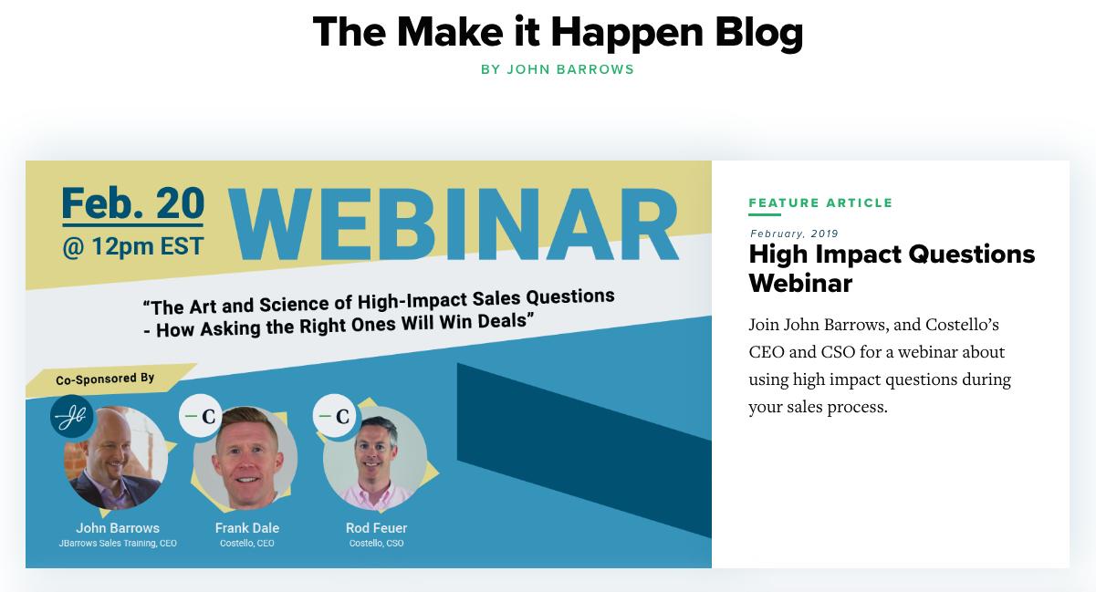 Make it happen sales blog