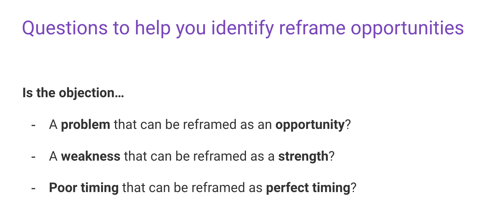 Reframe sales tactic