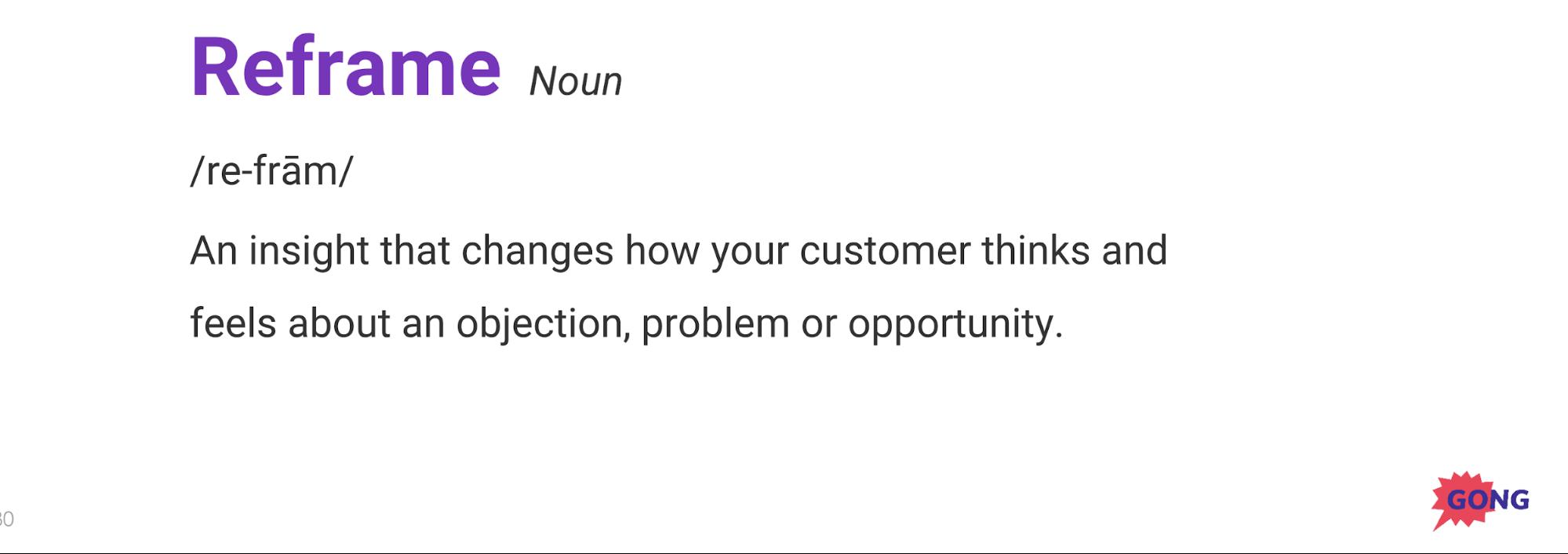 Reframe sales technique